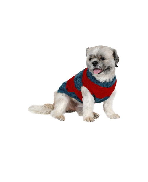 Blue and Red Dog Sweater