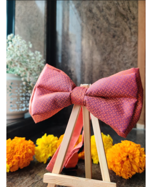 Evening Hue Double Layered Dog Bow Tie with Strap